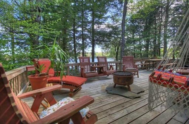 berkshires lake house deck