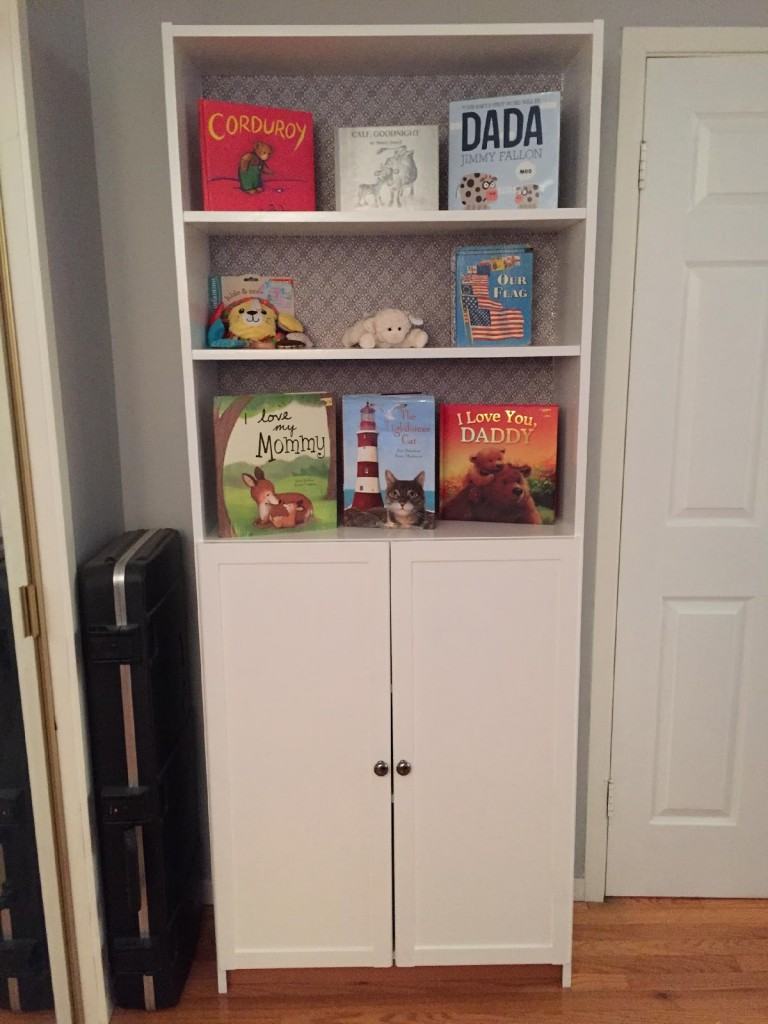 finished bookcase in nursery