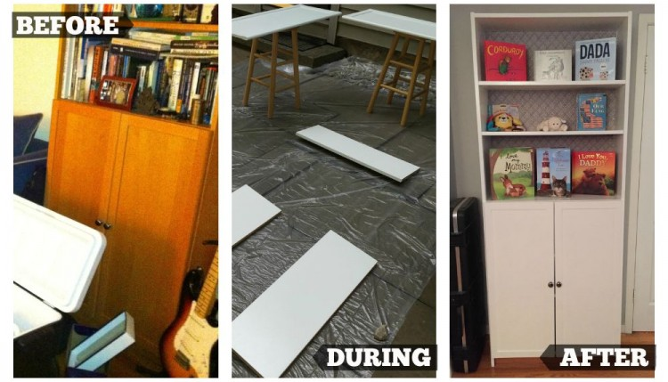ikea bookcase, before, during and after