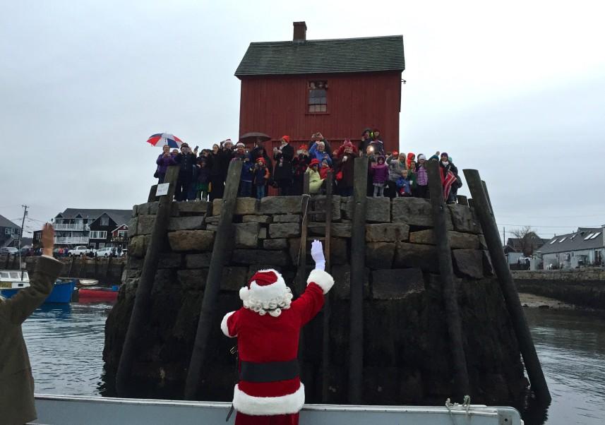 santa on boat in rockport harbor
