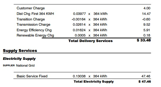 electricity supply vs delivery charges