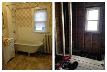 before and during bathroom remodel