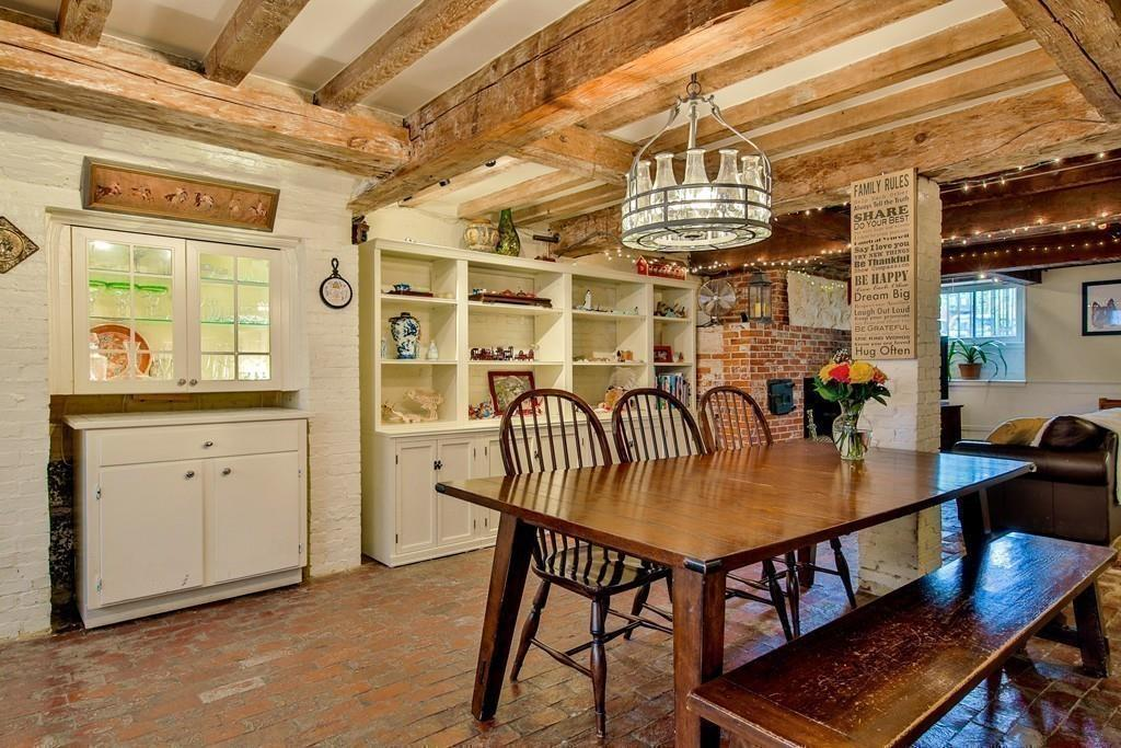 kitchen with brick floors
