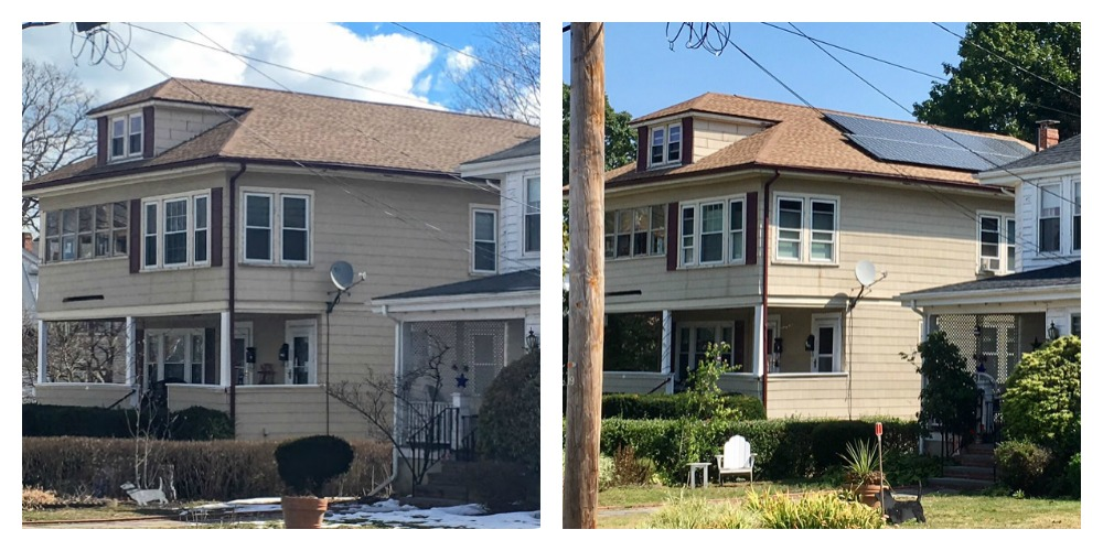 roof with solar panels before and after