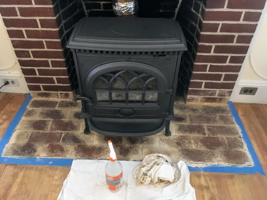 whitewash brick fireplace faded