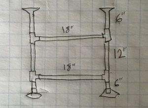 pipe frame for diy desk sketch