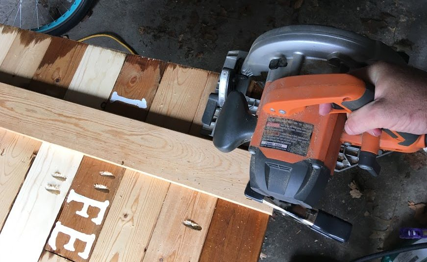 clamp scrap wood to cut a straight line with circular saw