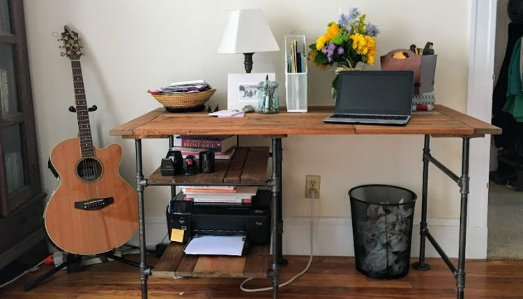 diy desk with industrial pipe and reclaimed wood