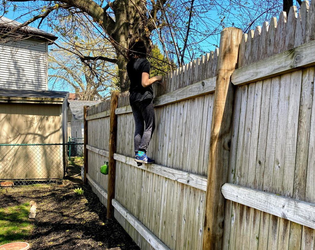 kid climbing our fence