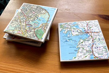 diy tile coasters with maps