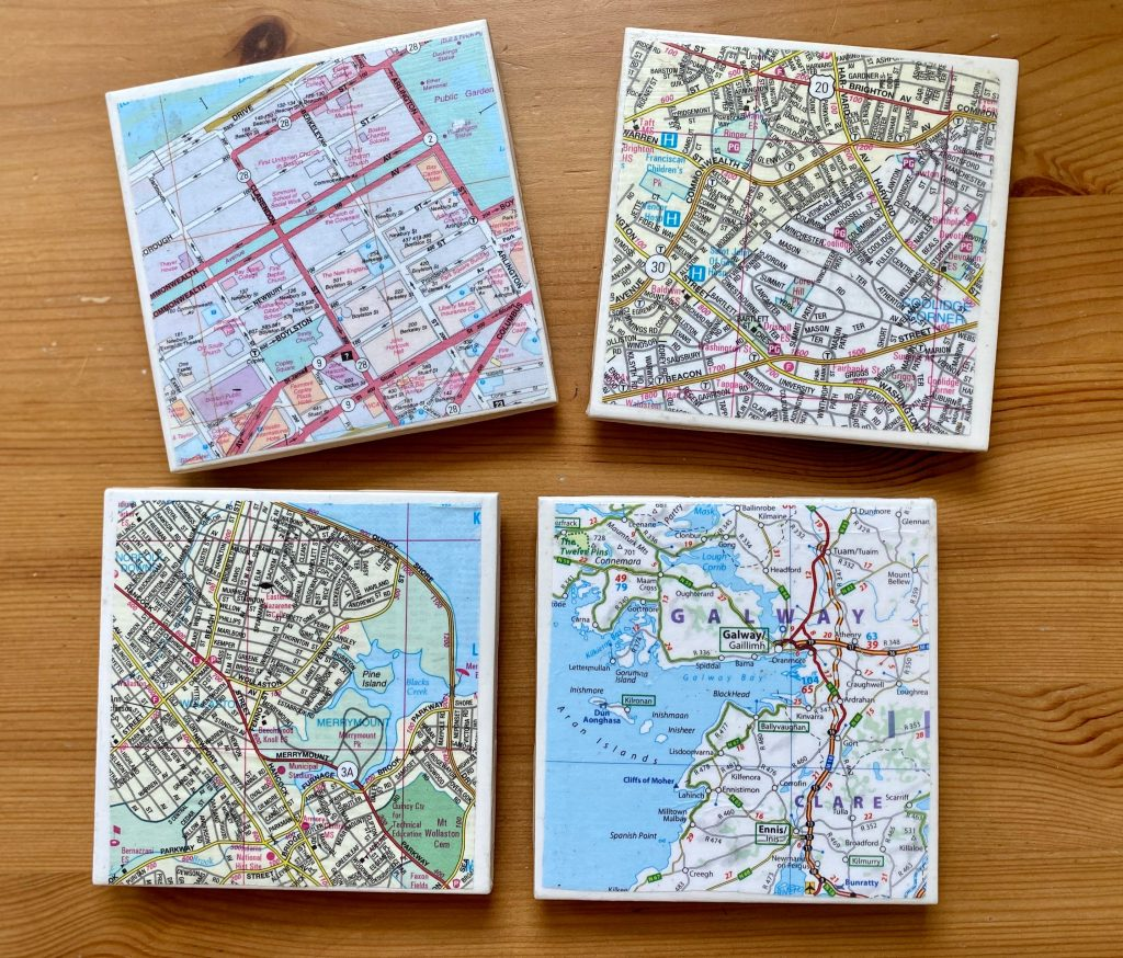finished set of four homemade diy tile coasters set of four
