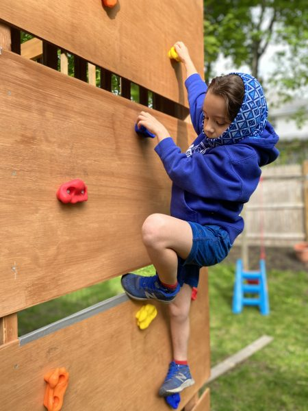 DIY rock climbing wall for children