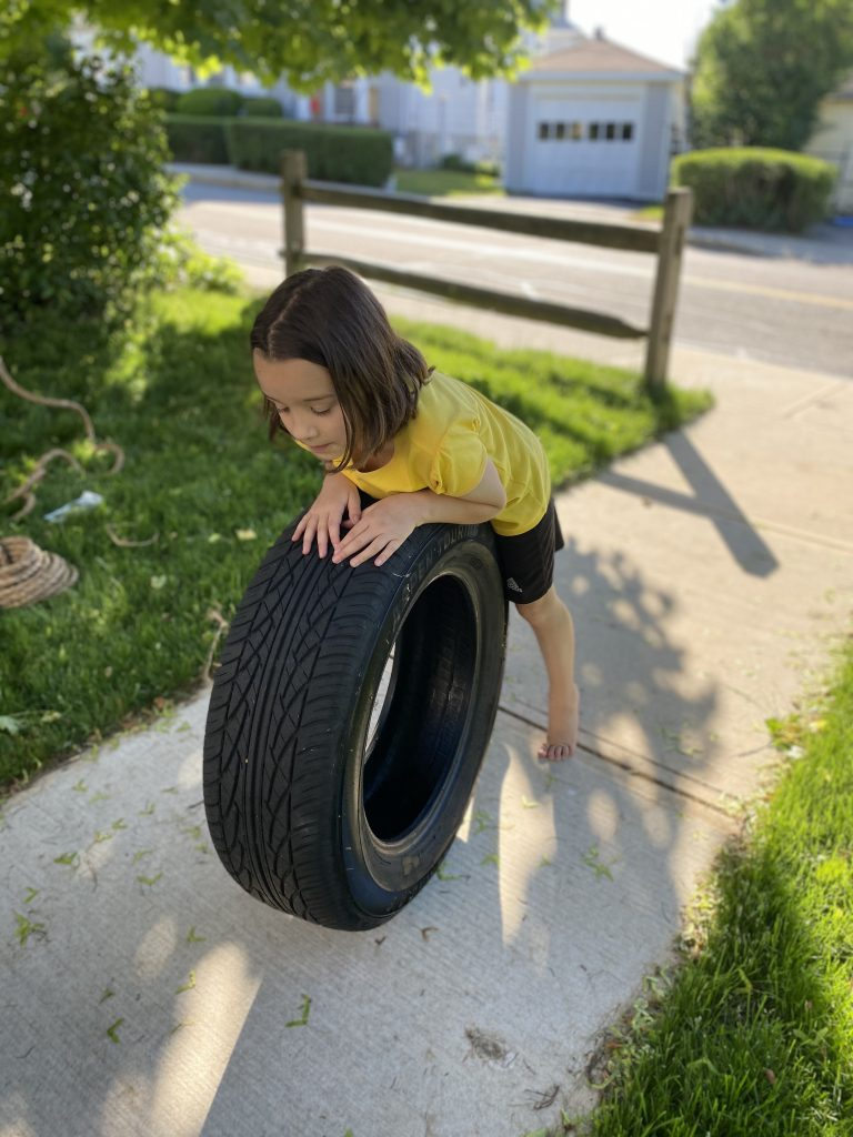 playing with the tire