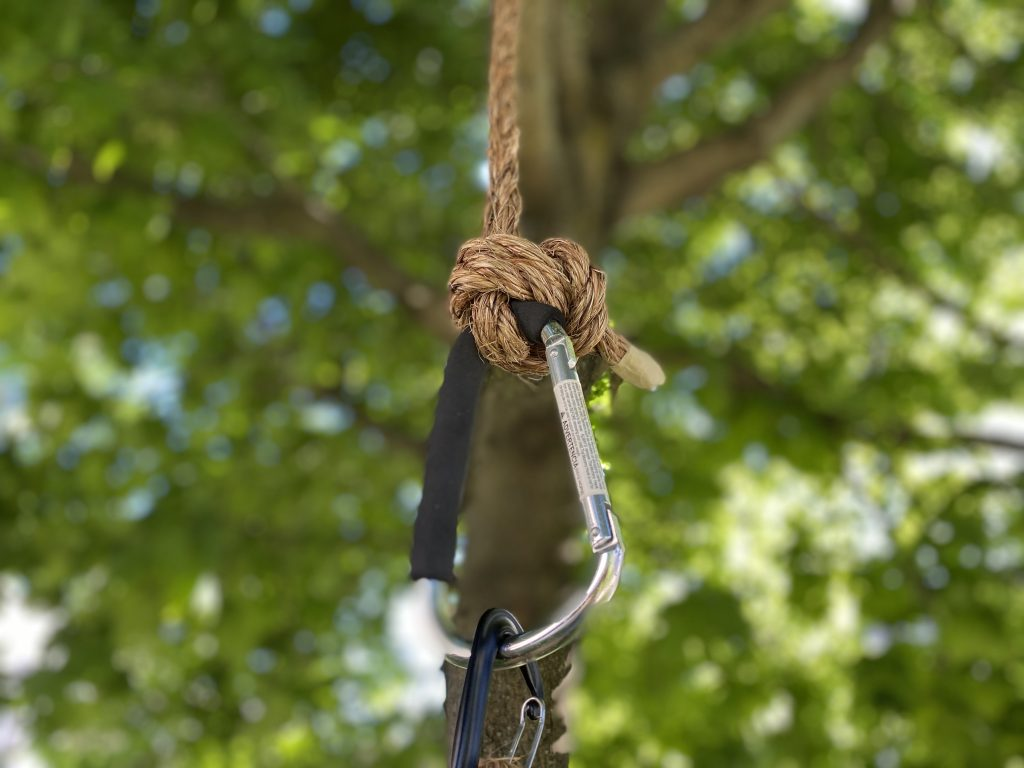 attach tire swing with carabiner