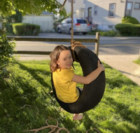 how to make a tire swing - genny tries out the tire swing and approves