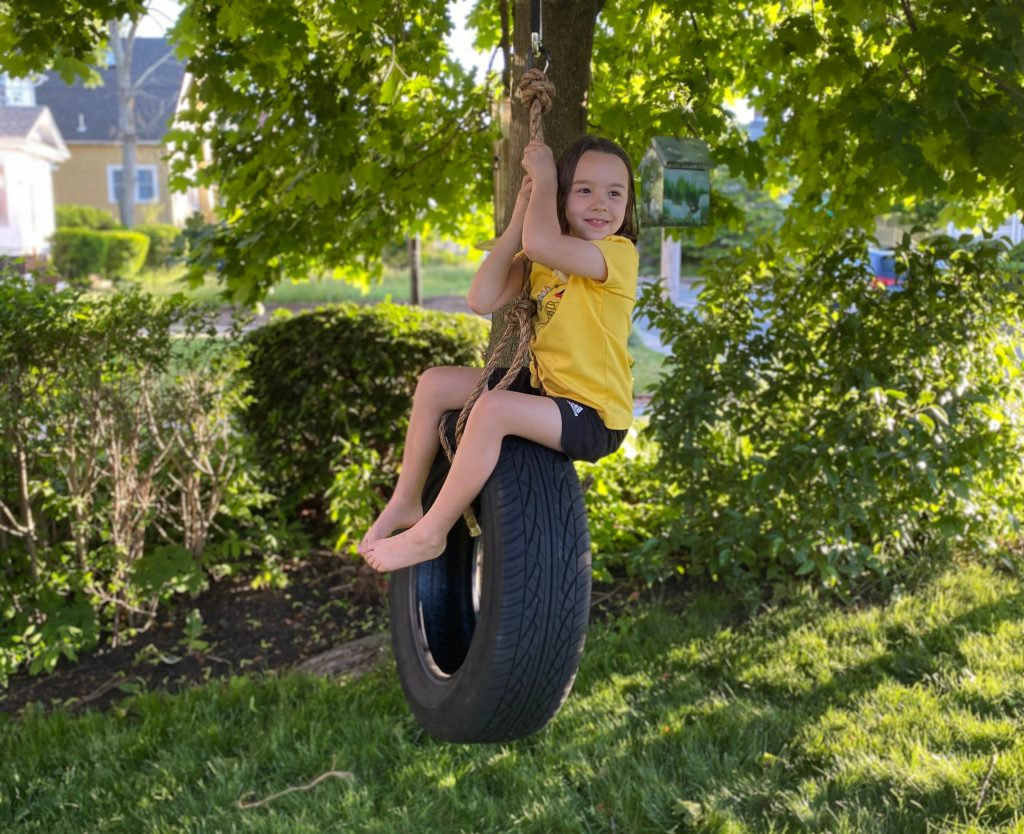 how to make a tire swing - testing it out