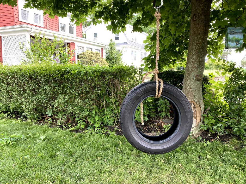 how to make a tire swing - finished swing