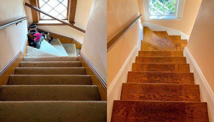 rip up carpet in stairs before and after