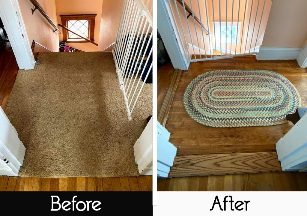 before and after photo of stairway landing - carpet to hardwood floors