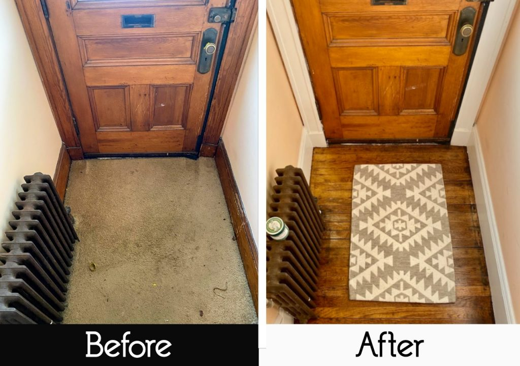 we pulled up the old carpet to reveal hardwood floors in entryway