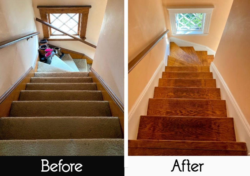 rip up carpet in staircase - before and after view