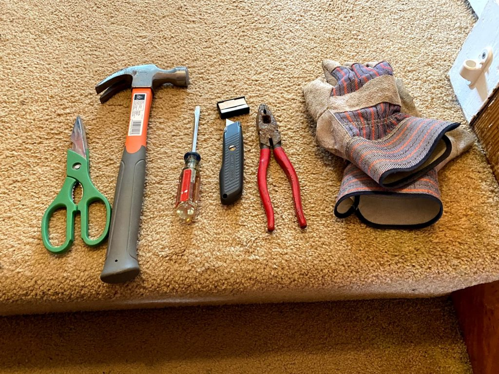 tools needed to rip up carpet
