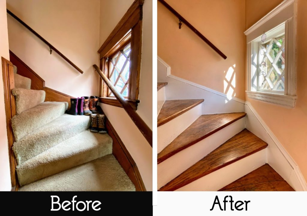 carpeted stairs vs hardwoods before and after photo