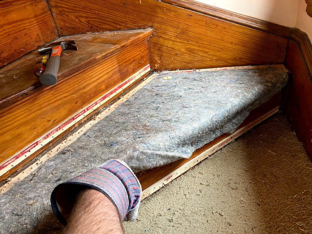 wear gloves to pull up carpet and underlayment