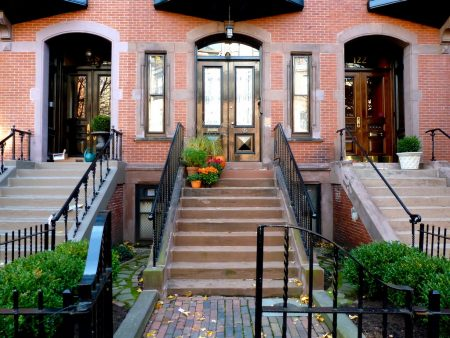 marlborough st brownstones in bostons back bay