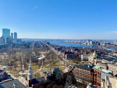 aerial view of beacon hill and back bay in boston