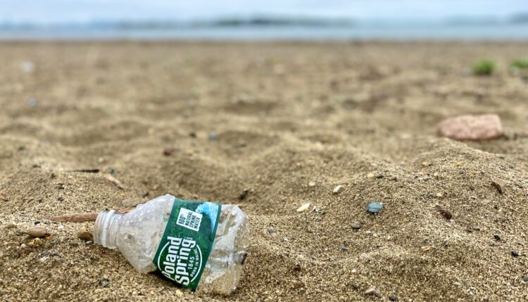 poland spring plastic water bottle on the beach - how to reduce plastic waste